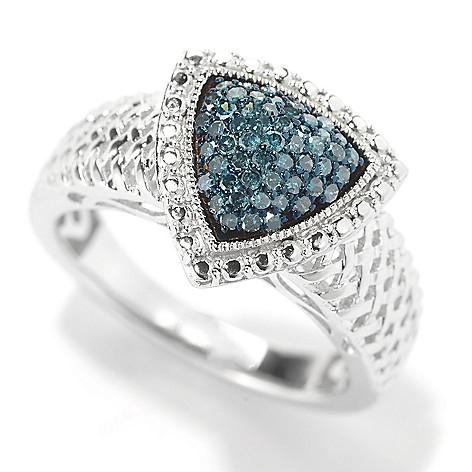145-591 - Diamond Treasures® Sterling Silver 0.25ctw Diamond Woven Design Ring