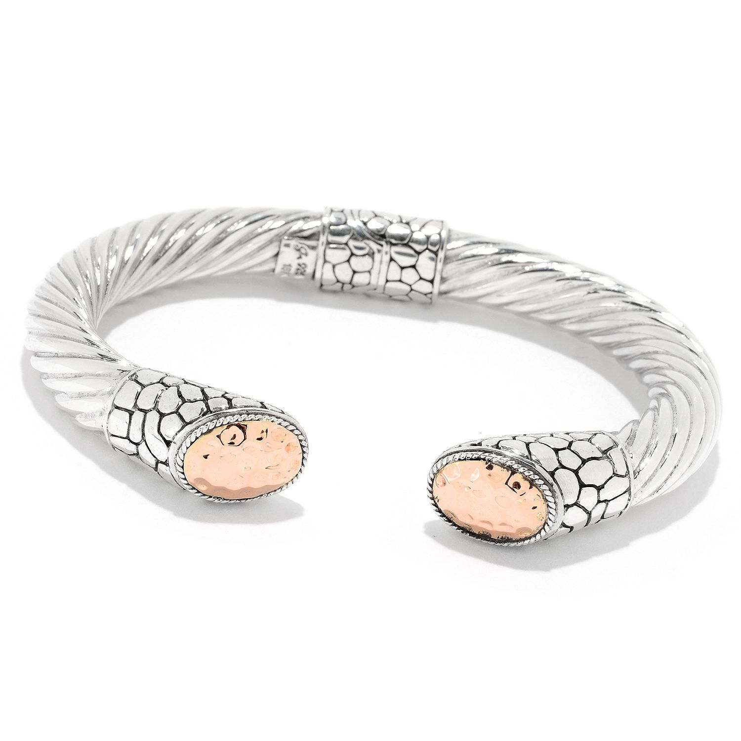 155-577- Artisan Silver by Samuel B. Choice of Size 18K Gold Accented Hinged Cable Bangle Bracelet