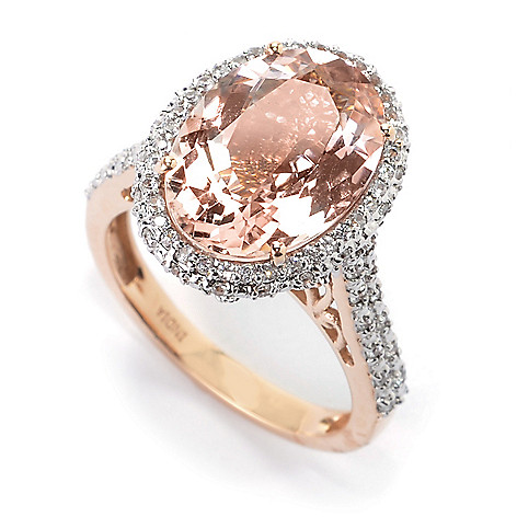 155-960- Gem Treasures® 14K Rose Gold 4.82ctw Morganite & White Zircon Halo Ring