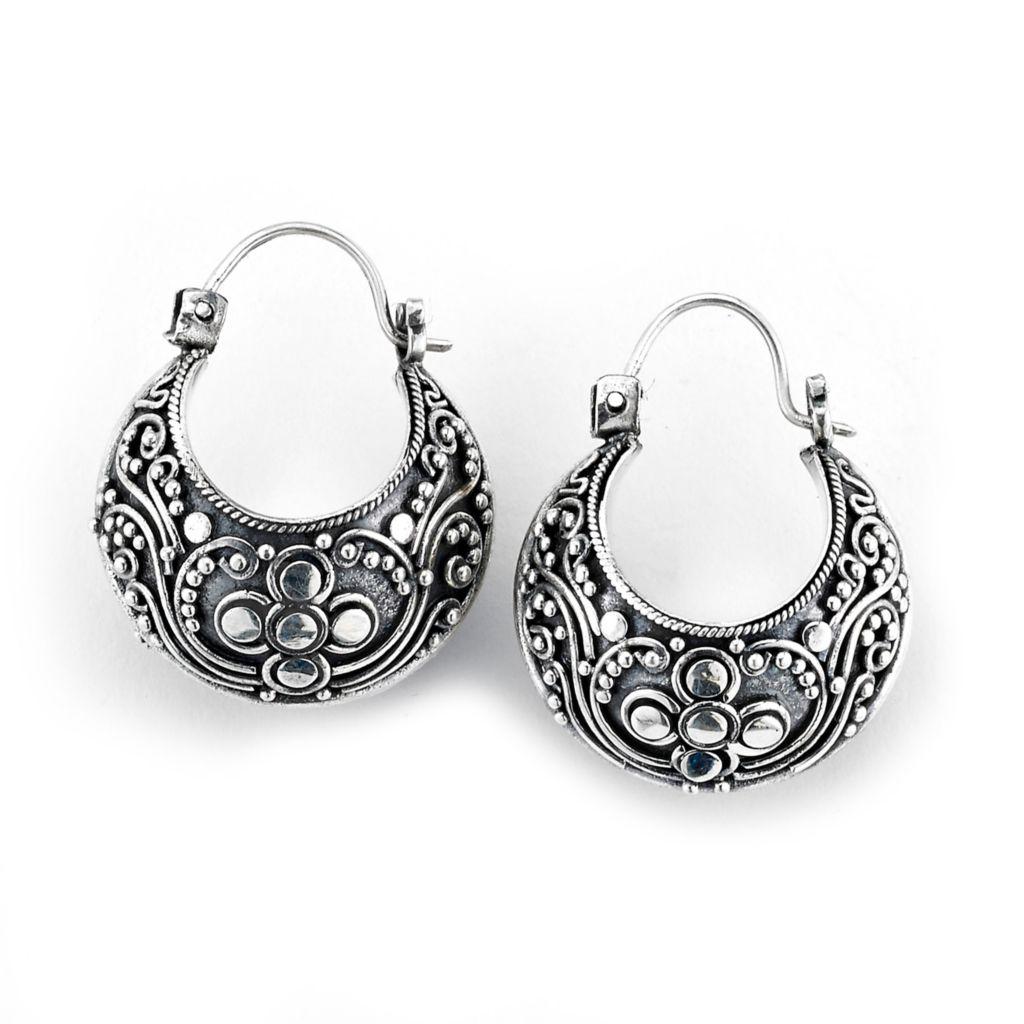 Artisan Silver by Samuel B Balinese Design Hoop Earrings