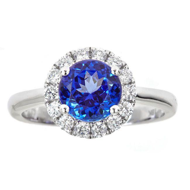 Fierra™ 18K White Gold 2 78ctw Round Cut Tanzanite & Diamond Ring