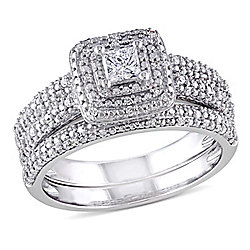 Julianna B 14K White Gold 0.49ctw Princess Cut Diamond Cluster & Halo 2-Piece Bridal Ring Set