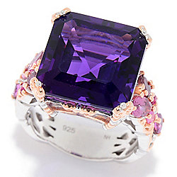 Gems en Vogue 11.55ctw 14mm Asscher Cut Namibian Amethyst & Multi Gem Ring