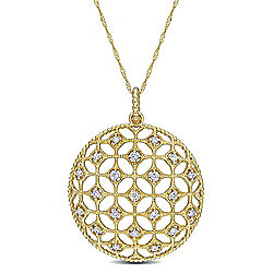 "Desiree 14K Gold 0.25ctw Diamond Lace Pendant w/ 17"" Chain"