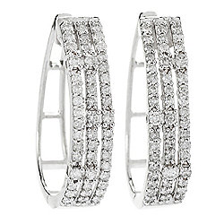 "Gems of Distinction™ Sterling Silver 1"" 1.02ctw Diamond Hoop Earrings"