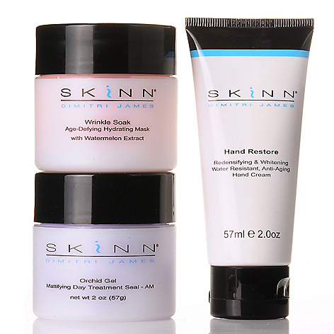 303-916 - Skinn Cosmetics Three-Piece Hand Restore, Wrinkle Soak & Orchid Gel Skincare Set