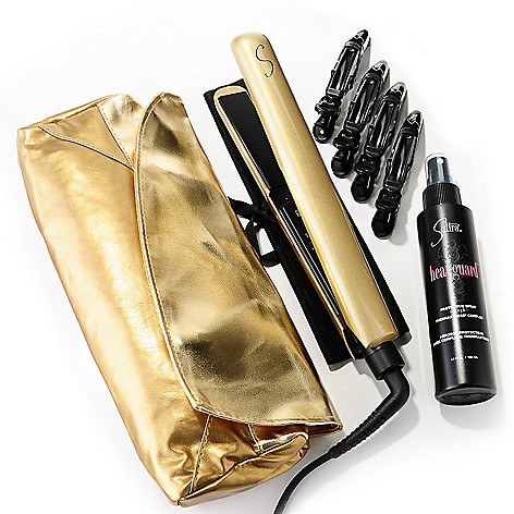 305-114 - Sultra™ Gold Wicked Styling Iron w/ Heat Guard, Clips & Gold Clutch