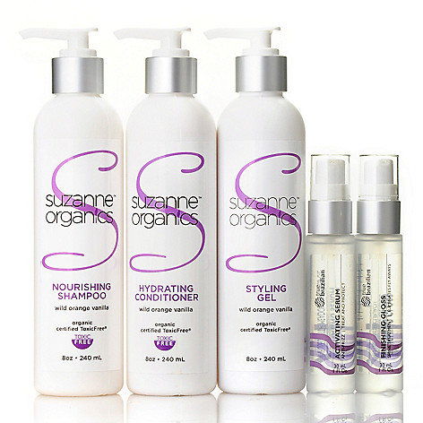305-321 - Suzanne Somers Organics Five-Piece Hair Care Set w/ Tote Bag