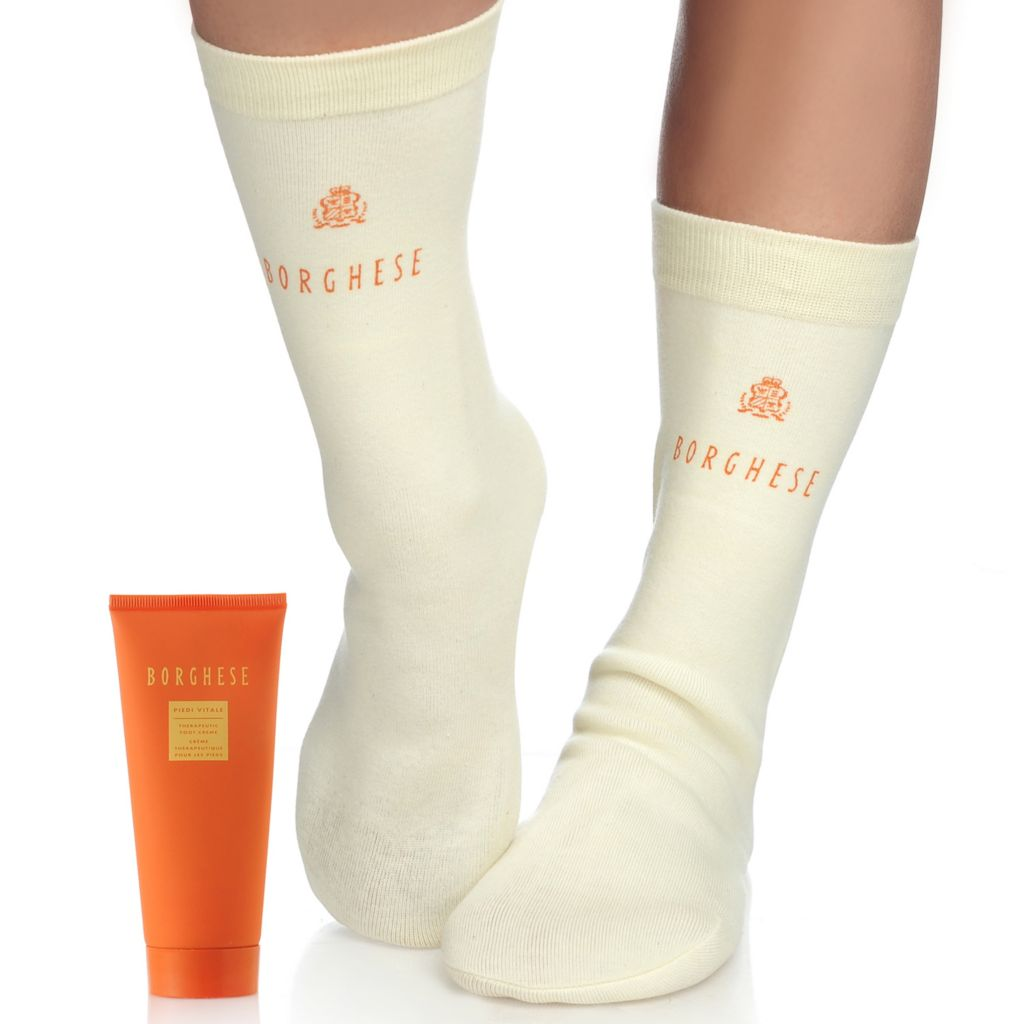 305-371 - Borghese Spa Pedi Ready w/ Piedi Vitale Therapeutic Foot Creme & Spa Socks