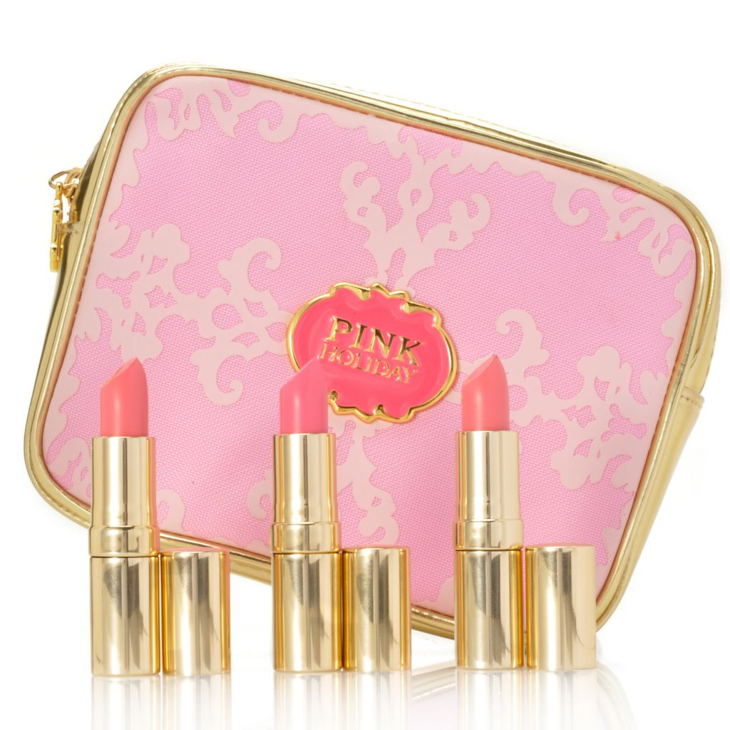 305-395 - Pink Holiday Three-Piece Lipstick Collection w/ Bag