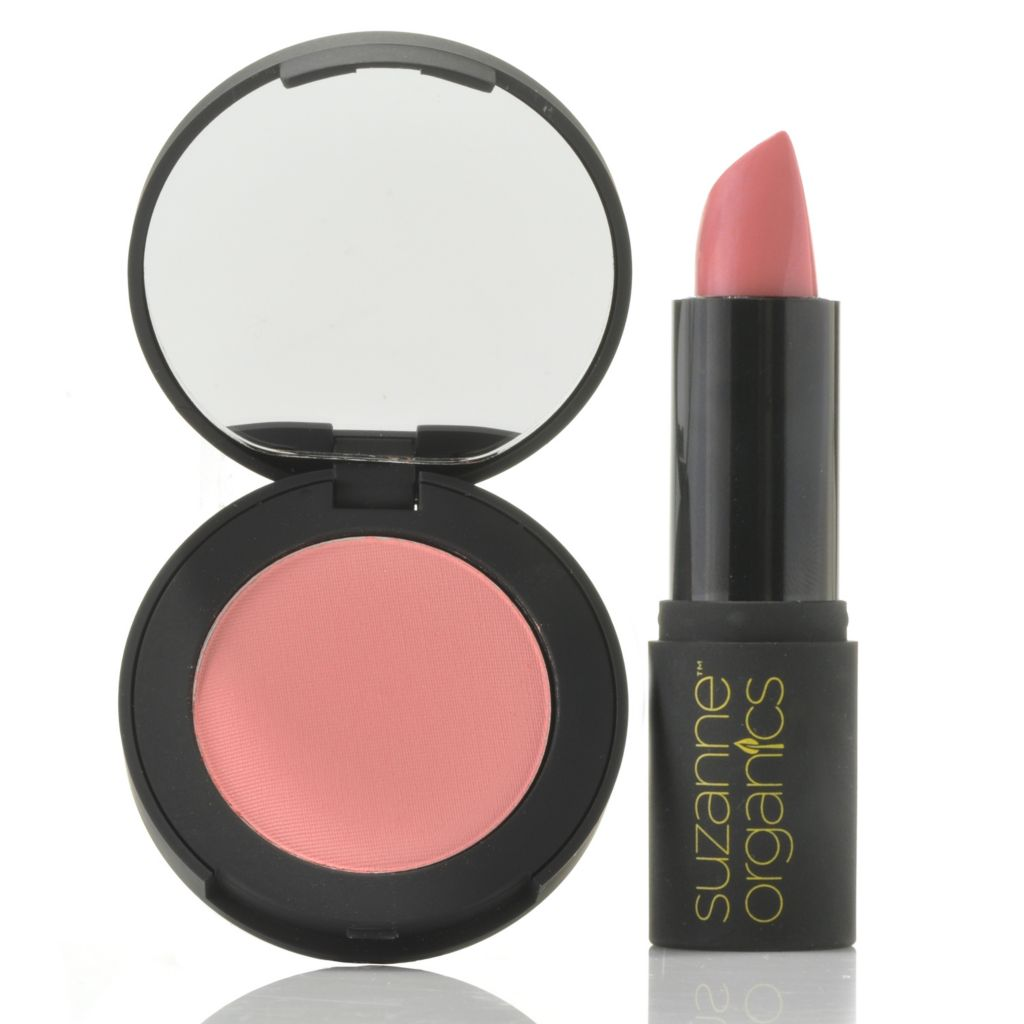 305-830 - Suzanne Somers Organics Natural Blushing Powder & Sheer Satin Lipstick Duo