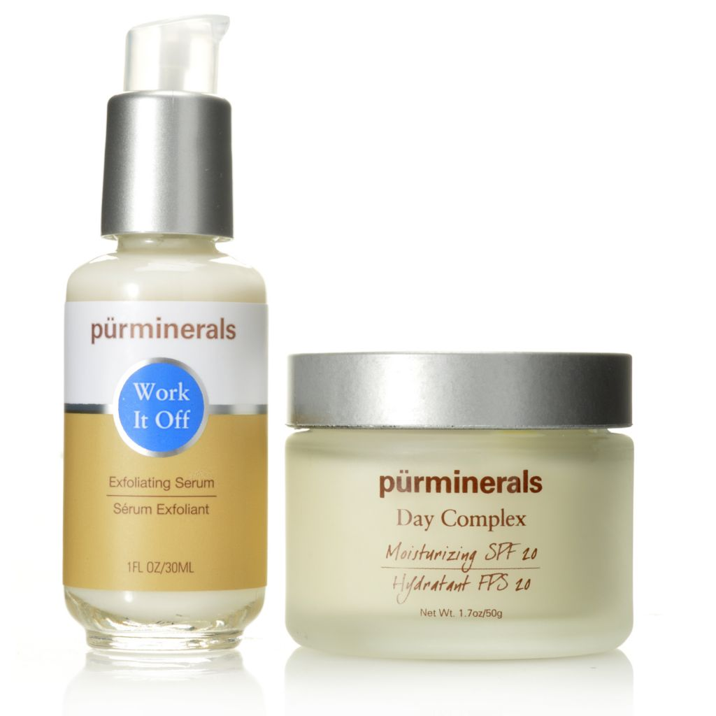 306-012 - Pür Minerals Two-Piece Exfoliating Serum & Day Renewal Complex Cream Set