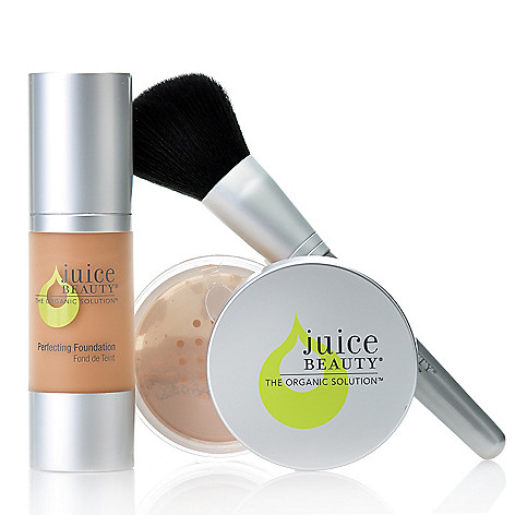 306-142 - Juice Beauty Perfection Foundation & Finishing Powder Duo w/ Buki Brush