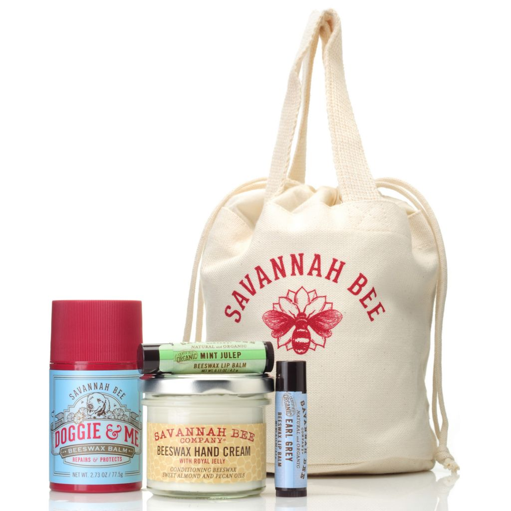 "306-247 - Savannah Bee Company® Four-Piece ""Balms Away"" Hand & Lip Kit w/ Reusable Spa Bag"
