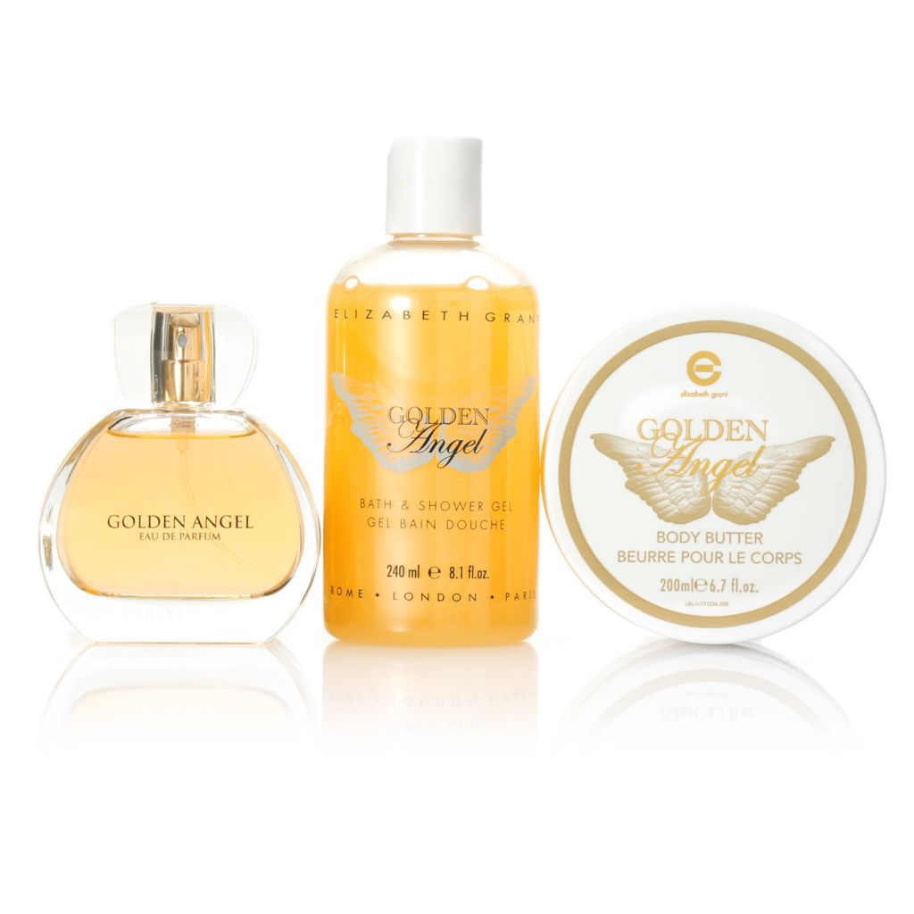 306-299 - Elizabeth Grant Golden Angel Body Butter, Eau de Parfum & Shower Gel Trio