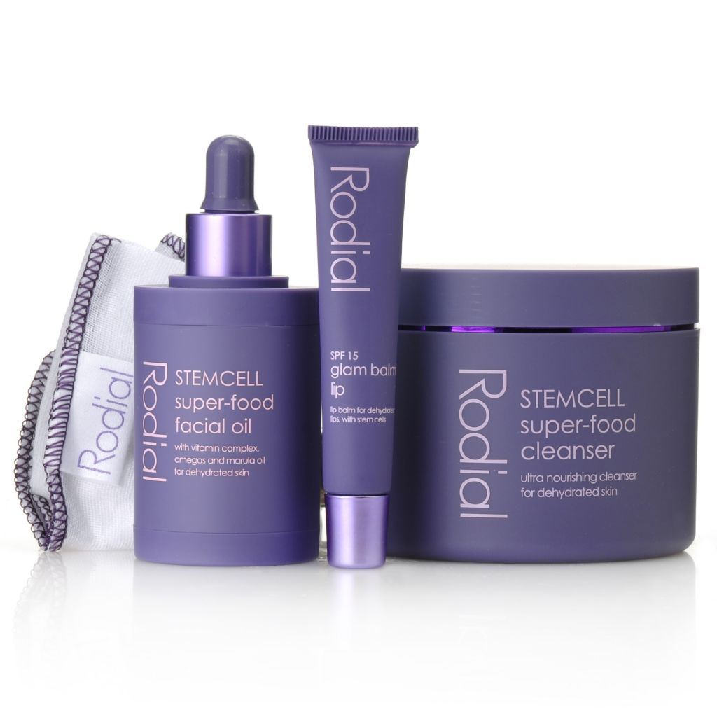 306-327 - Rodial Three-Piece Stem Cell Super-Food Cleanser, Lip Balm & Facial Oil Kit