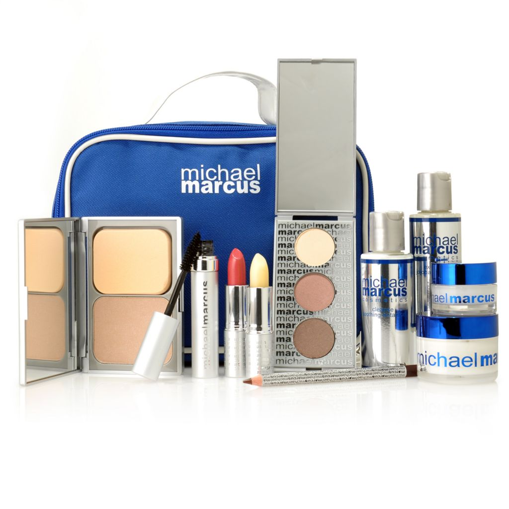 306-339 - Michael Marcus 10-Piece Cosmetics & Skincare Collection w/ Bag