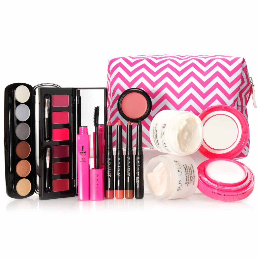306-351 - Skinn Cosmetics 12-Piece Complete Color & Skincare Holiday Collection w/ Chevron Zip Bag