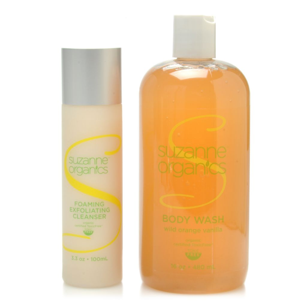 306-445 - Suzanne Somers Organics Body Wash & Exfoliating Cleanser Duo w/ Extra Pump