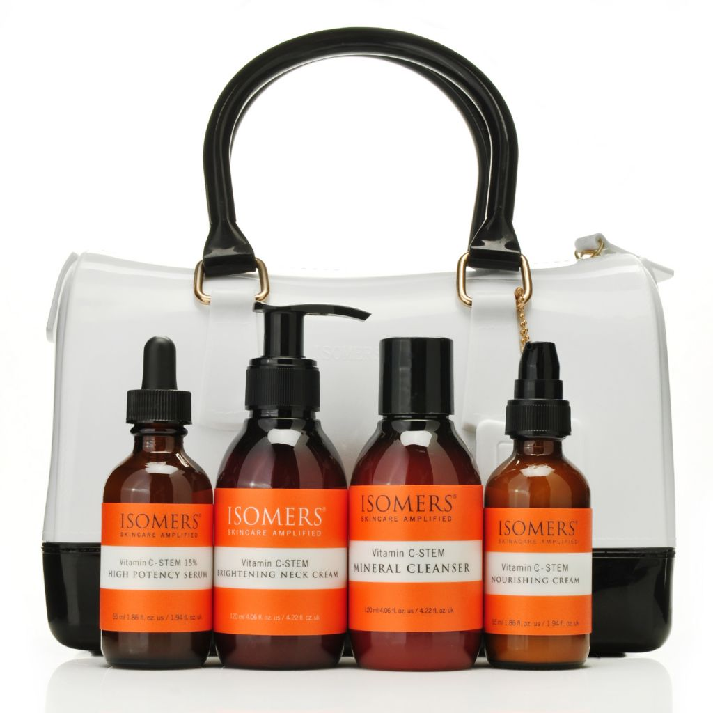 306-449 - ISOMERS® Four-Piece Vitamin C-STEM Brighten & Tighten Skincare Kit w/ Classic Satchel