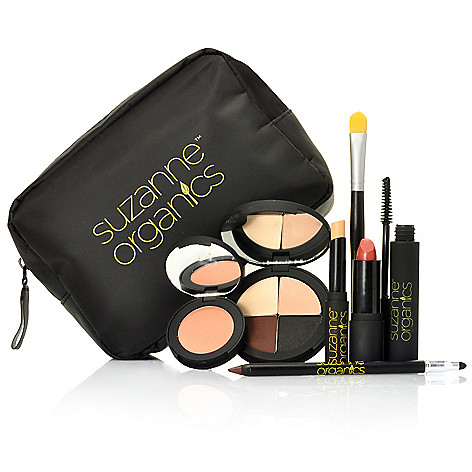 306-491 - Suzanne Somers Organics Seven-Piece Color Collection for Eyes, Lips & Face w/ Cosmetic Bag