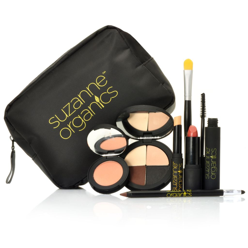 306-491 - Suzanne Somers Organics Seven-Piece Color Collection for Eyes, Lips & Face w/ Makeup Bag