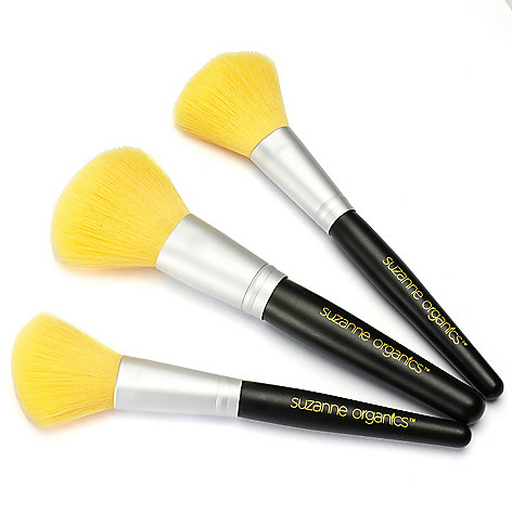 306-492 - Suzanne Somers Organics Three-Piece Powder, Blush & Contour Brush Set