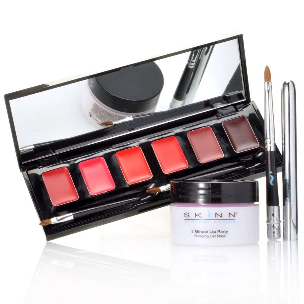 306-595 - Skinn Cosmetics Three-Piece Lip Party Mask, Lip Palette & Brush Collection