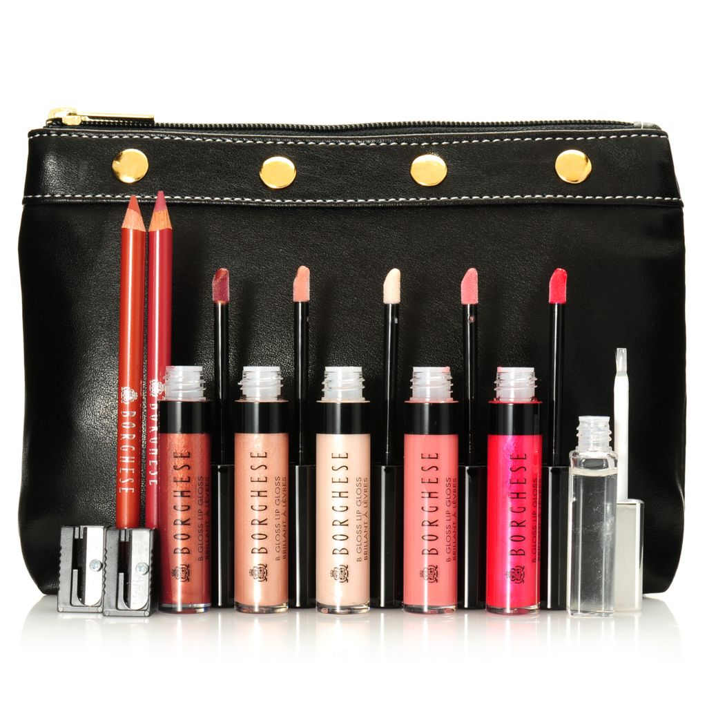 "306-604 - Borghese 10-Piece ""Pucker Up"" Lip Pencil & Gloss Set w/ Bag"