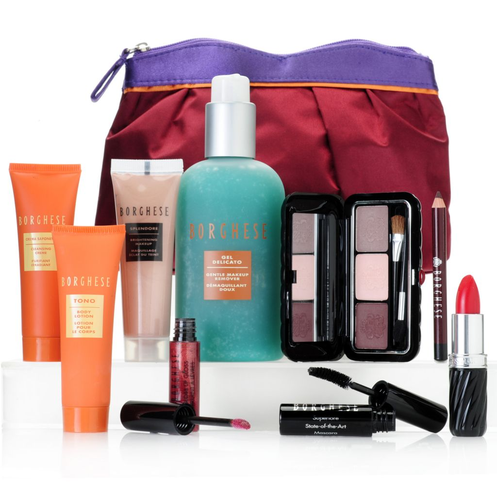 "306-607 - Borghese Nine-Piece ""Beauty Therapy"" Skincare & Cosmetics Kit w/ Makeup Bag"