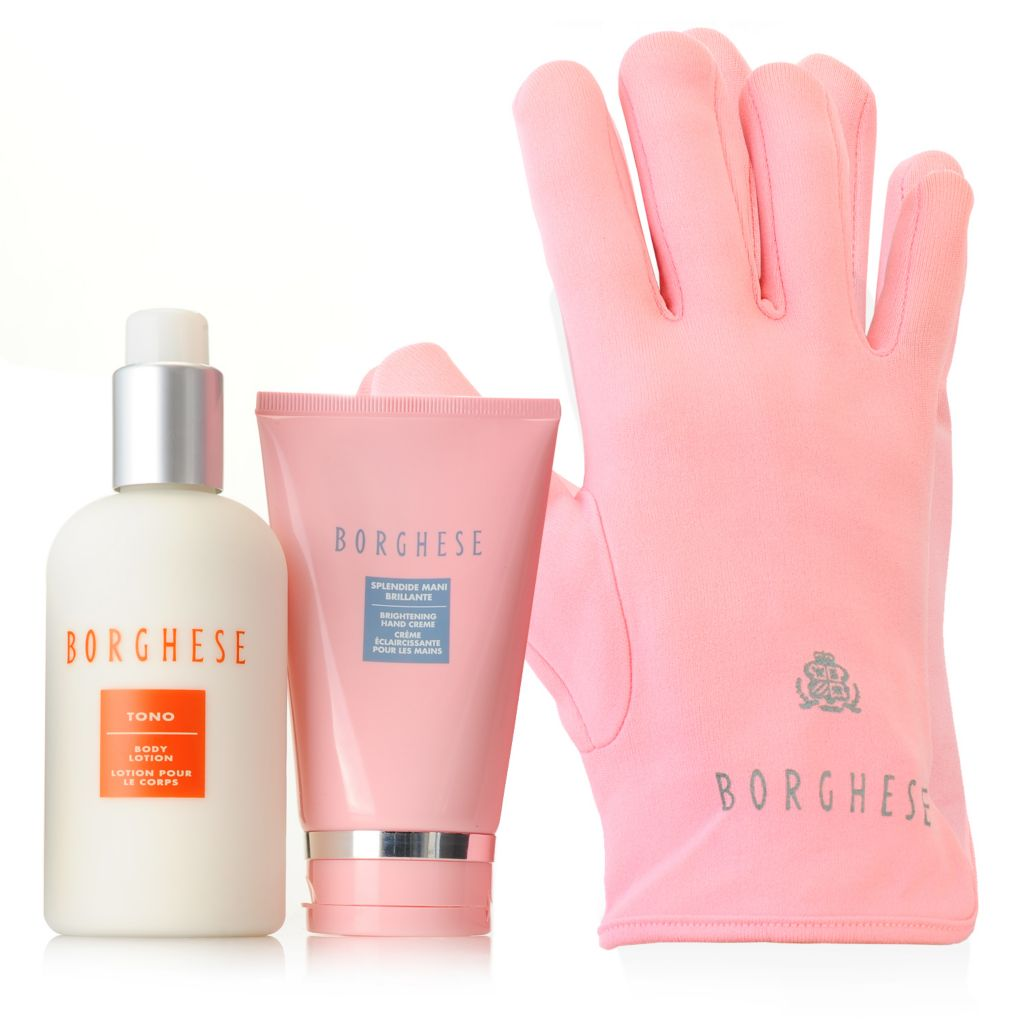 "306-614 - Borghese ""In the Pink"" Brightening Spa Gloves, Hand Creme & Body Lotion Trio"