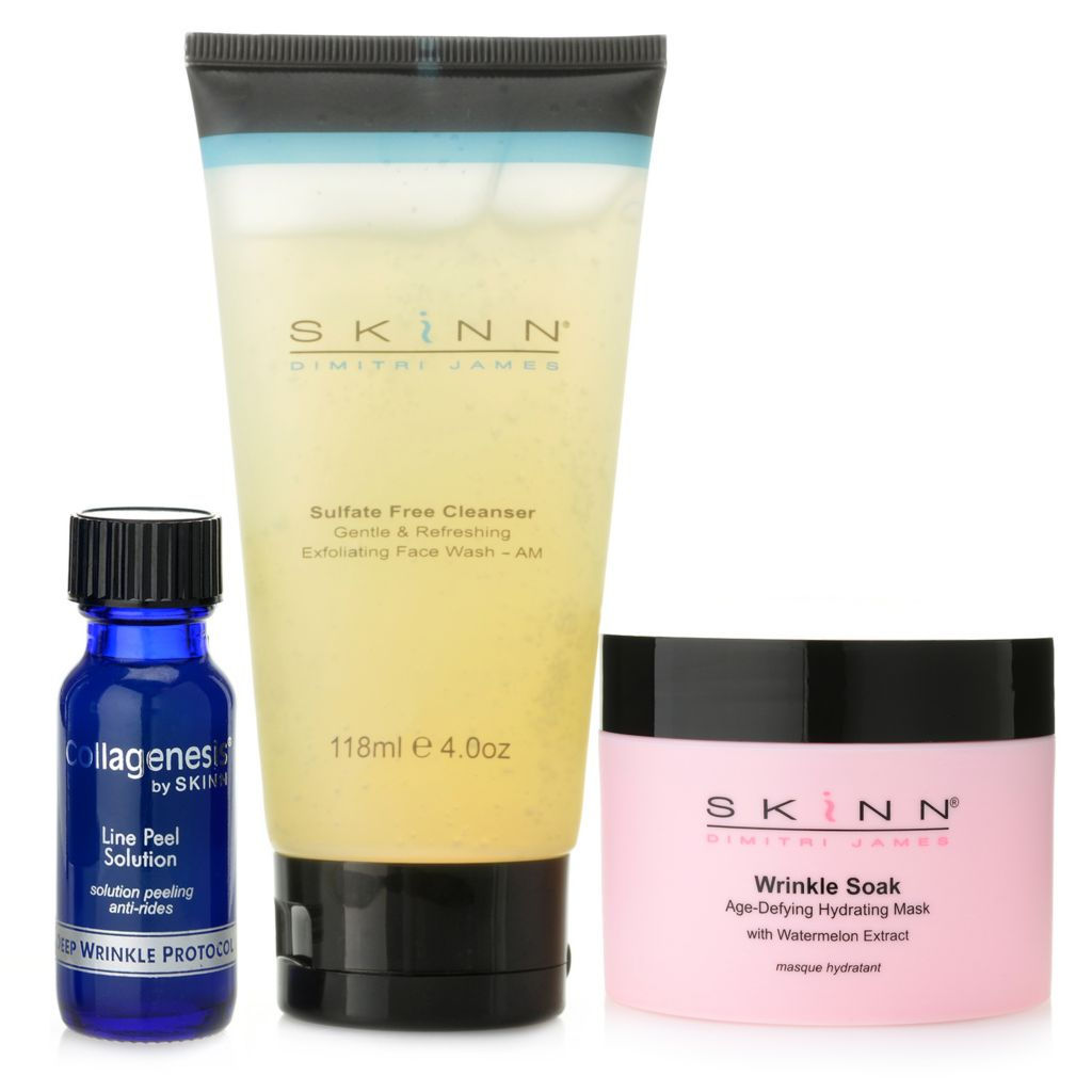 306-674 - Skinn Cosmetics Sulfate Free Cleanser, Line Peel Solution & Wrinkle Soak Trio