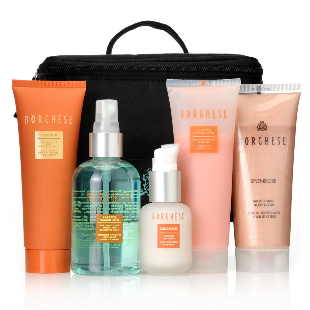 "306-681 - Borghese Five-Piece ""Royal Beauty"" Skincare Set w/ Black Train Case"