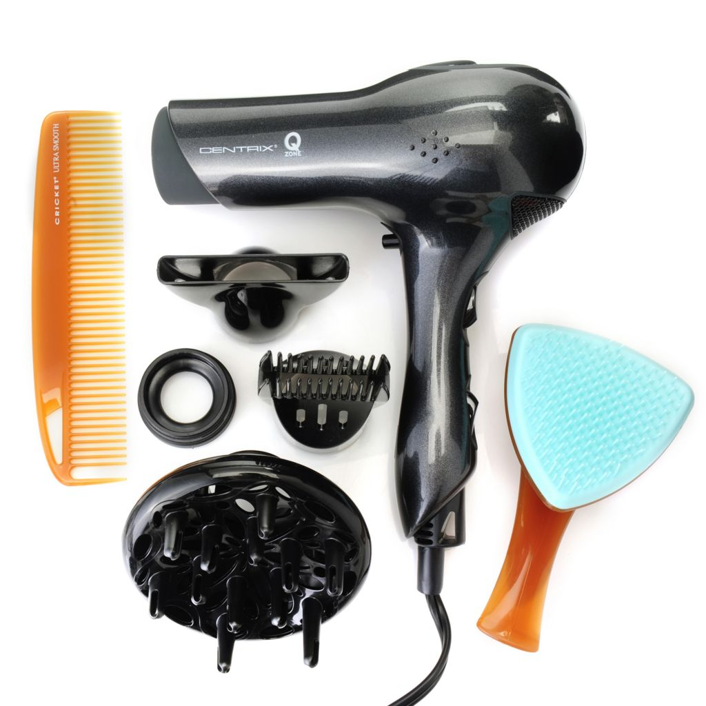 306-684 - Centrix® Q-Zone™ Quiet Lightweight Hair Dryer, Detangling Brush & Dressing Comb Trio