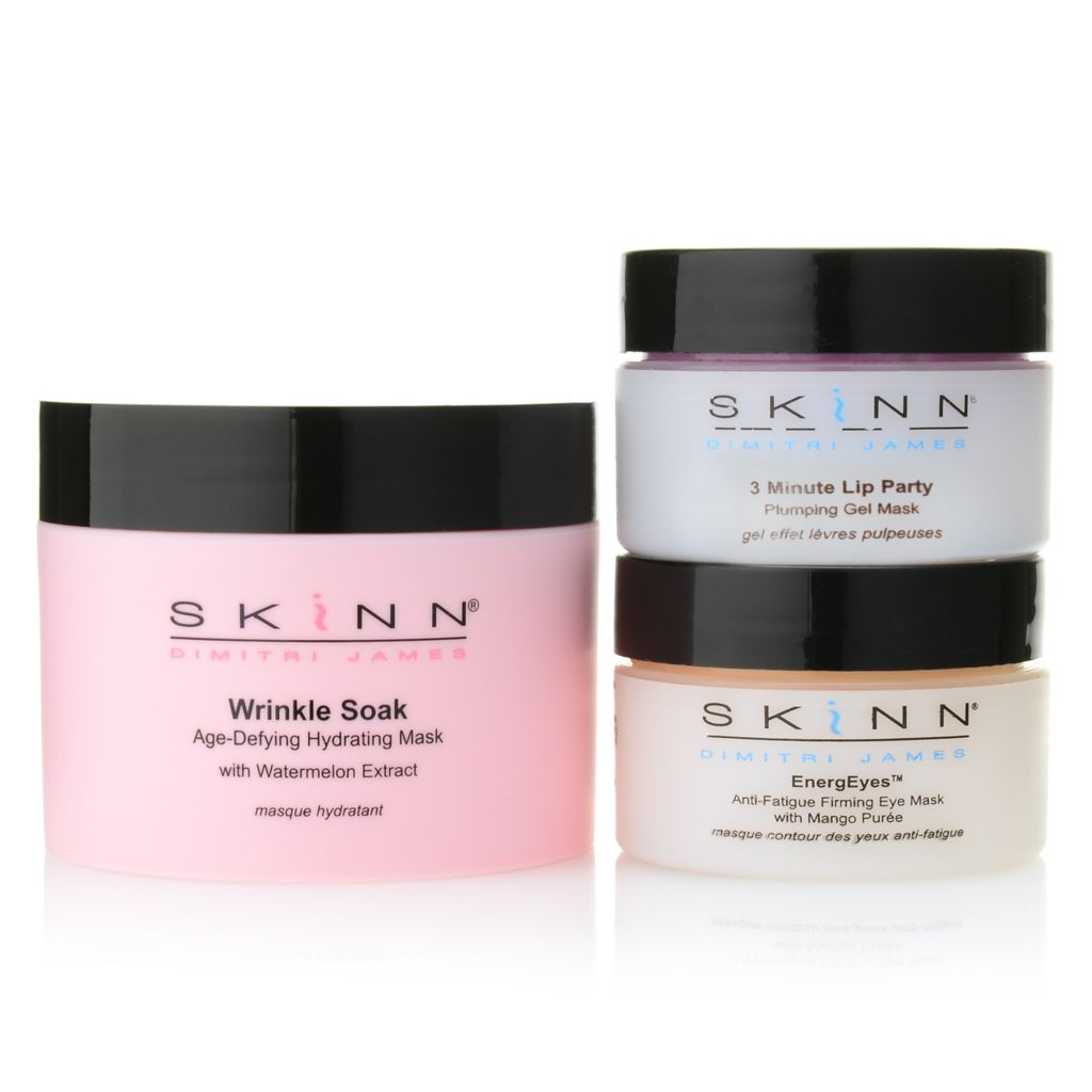 306-848 - Skinn Cosmetics EnergEyes, 3 Minute Lip Party & Wrinkle Soak Mask Trio