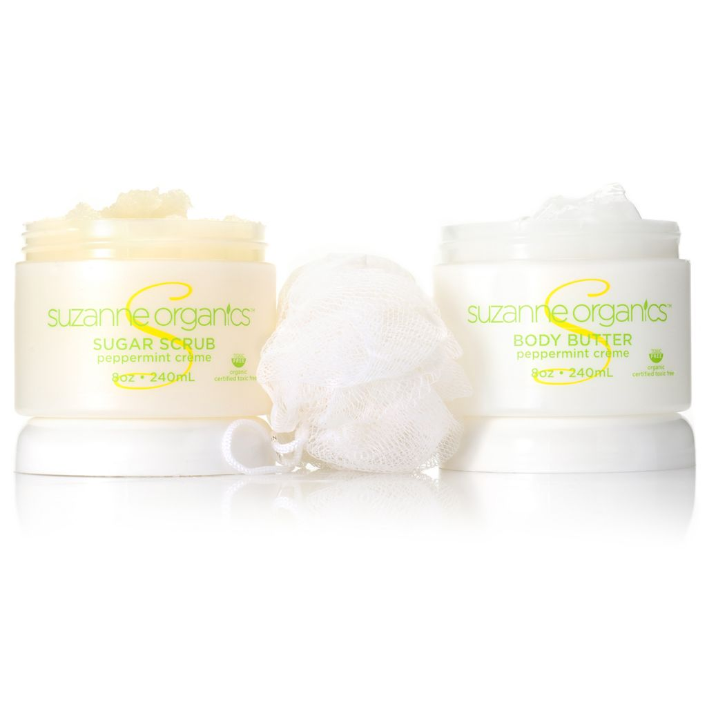 306-923 - Suzanne Somers Organics Sugar Body Scrub & Body Butter Duo w/ Shower Loofah