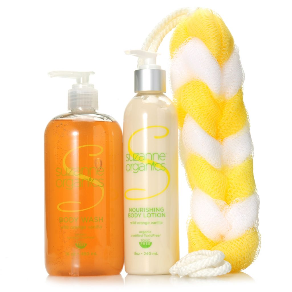 306-981 - Suzanne Somers Organics Body Wash & Nourishing Body Lotion Duo w/ Shower Loofah