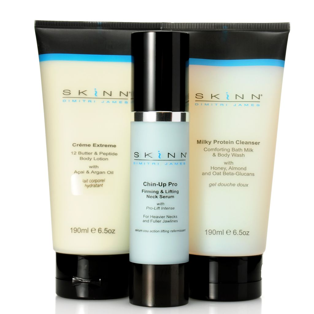 307-002 - Skinn Cosmetics Milky Protein Cleanser, Creme Extreme & Chin-Up Pro Serum Trio
