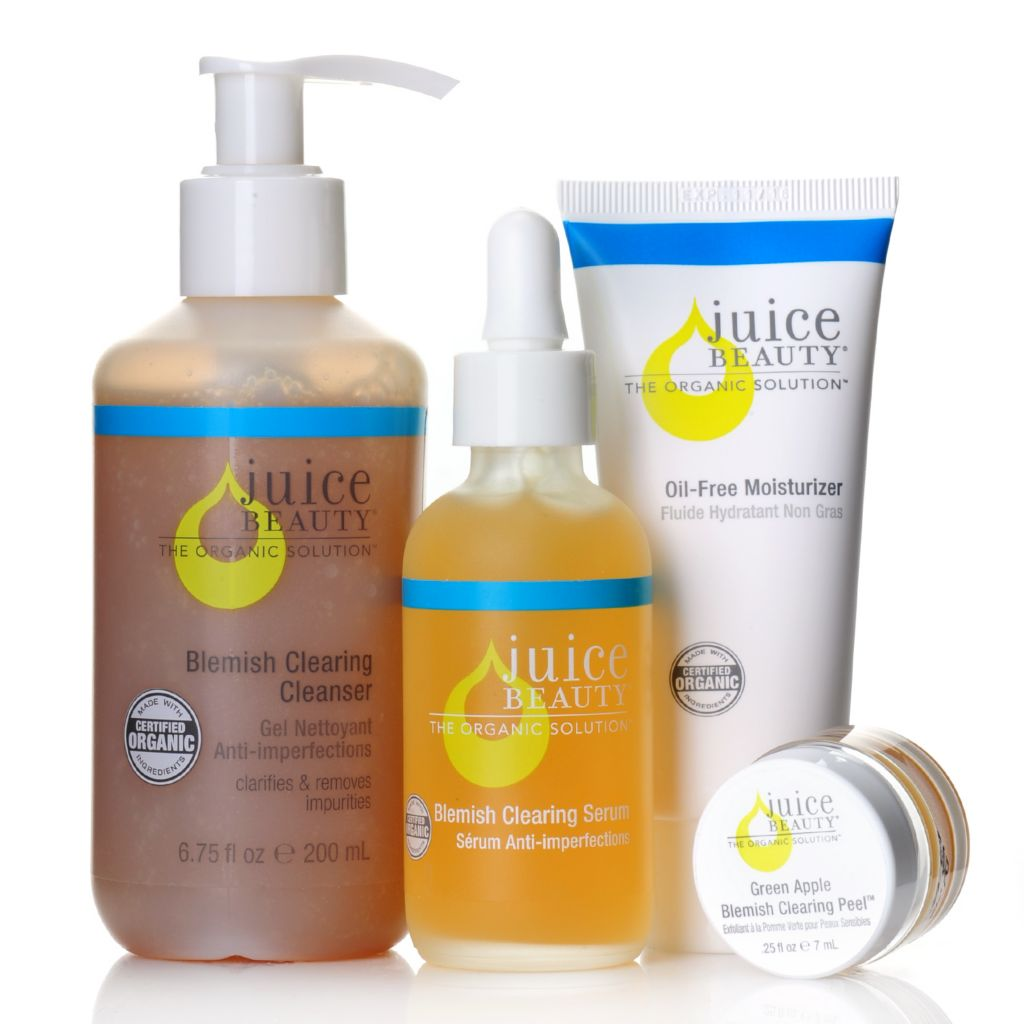 307-026 - Juice Beauty Three-Piece Blemish Clearing Organic Skincare Kit w/ Bonus Green Apple Blemish Peel