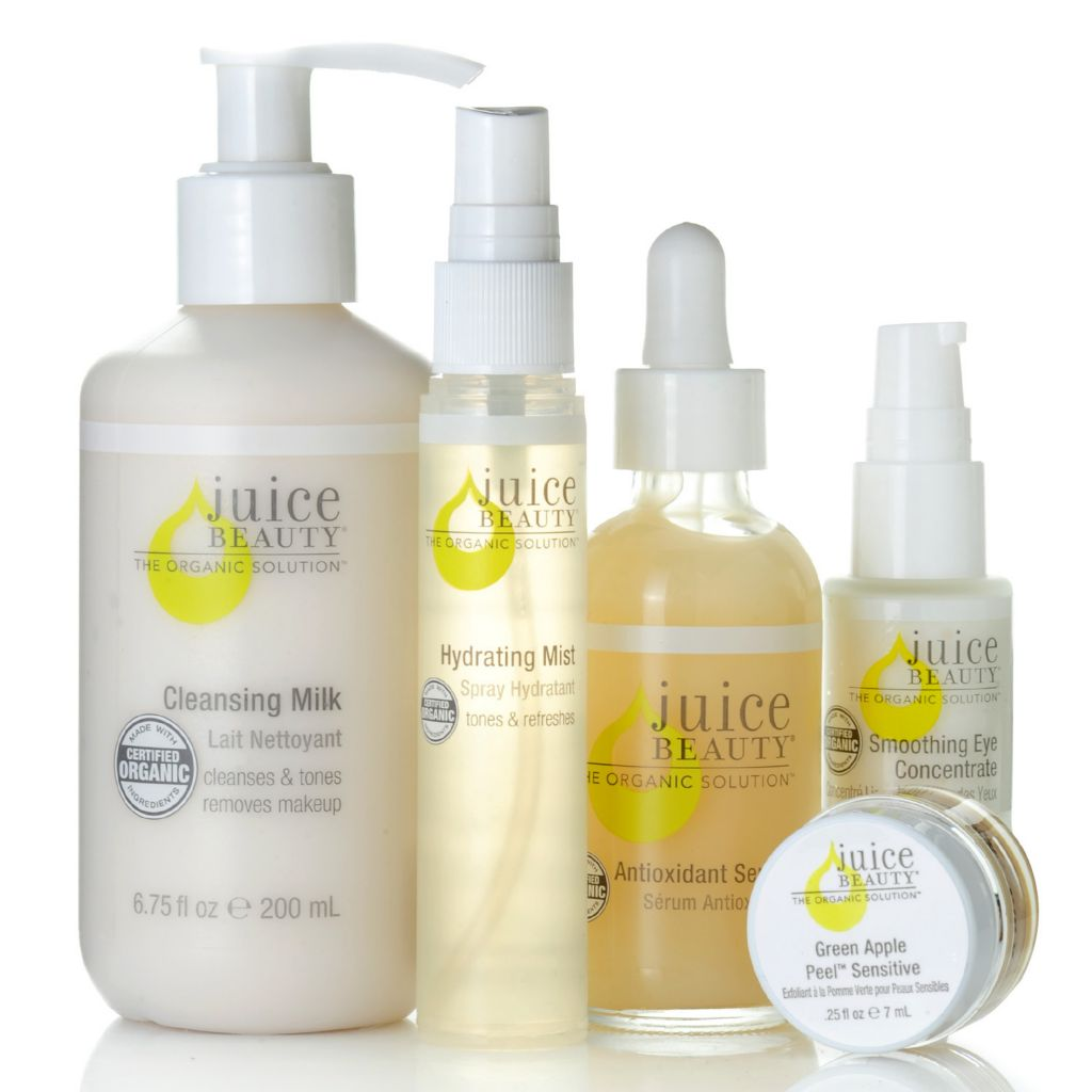 307-034 - Juice Beauty Five-Piece Cleansing, Toning & Smoothing Certified Organic Skincare Set