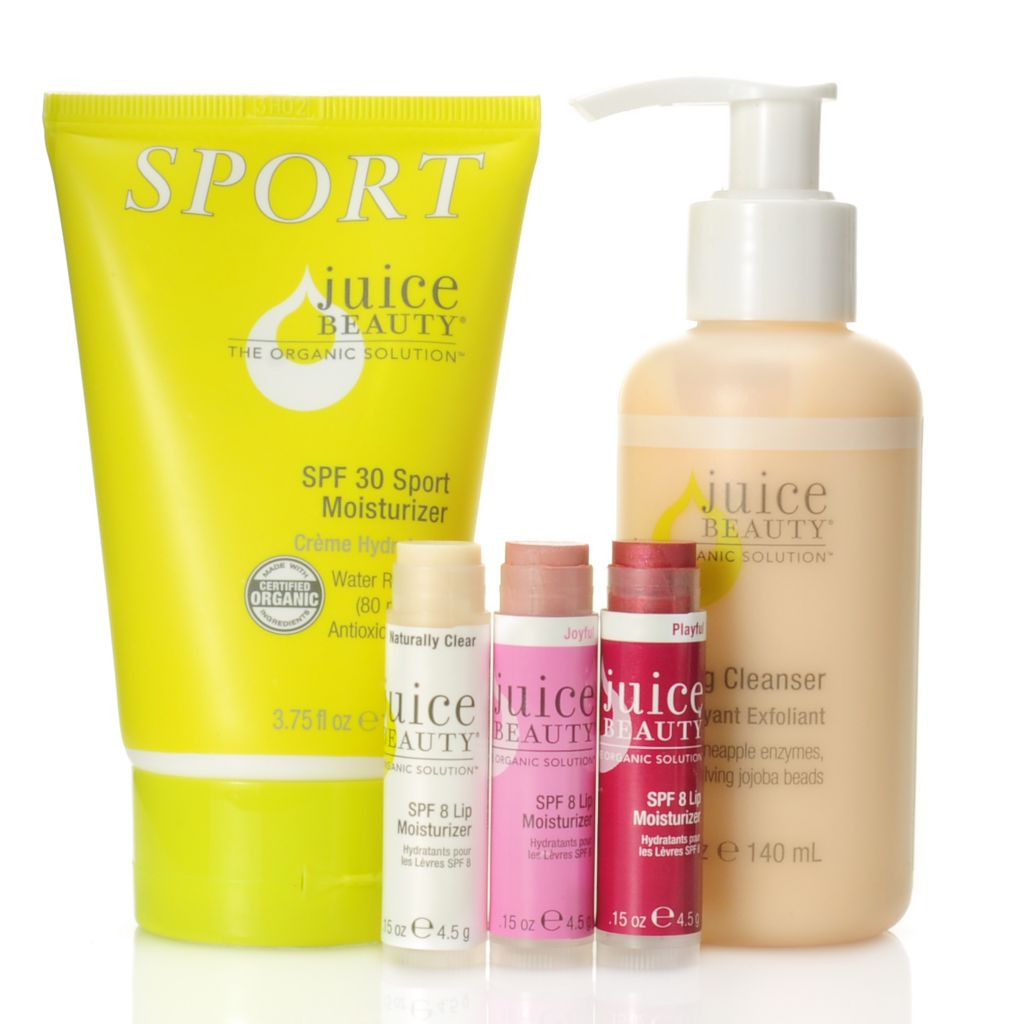 307-035 - Juice Beauty Five-Piece Certified Organic Moisturizing Active Essentials for Face & Lips