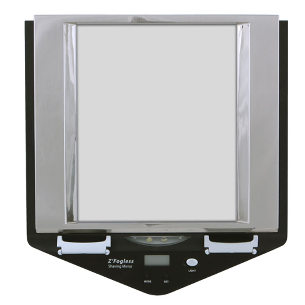 307-080 - Z'Fogless Dual LED Lighted Water Mirror w/ Digital Clock & Two Razor Mounts