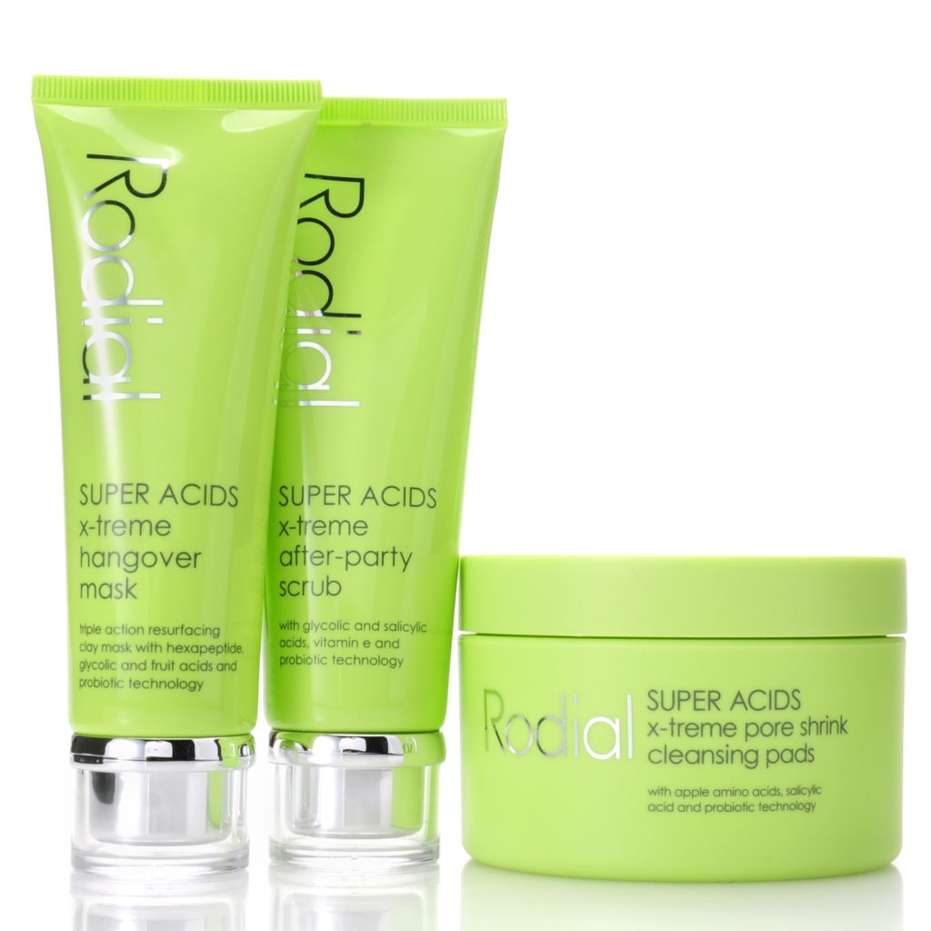 307-090 - Rodial SUPER ACIDS X-treme Pore Pads, Scrub & Mask Skincare Trio