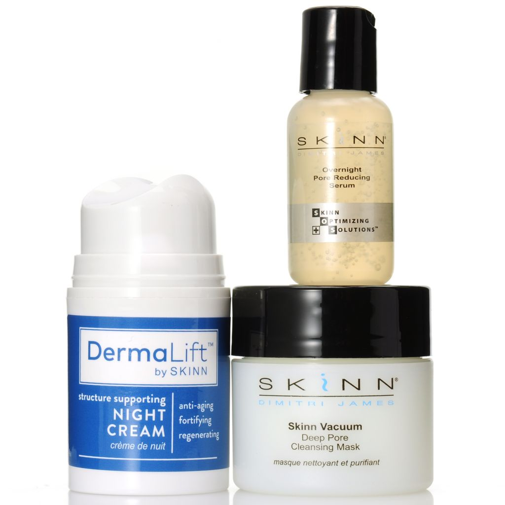 307-111 - Skinn Cosmetics DermaLift™ Night Cream, Pore Reducing Serum & Cleaning Mask Trio