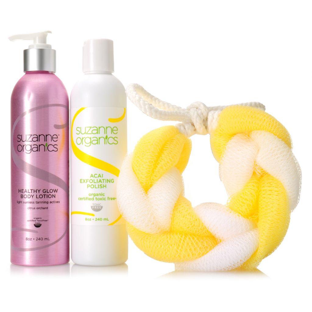 307-148 - Suzanne Somers Organics Acai Exfoliating Body Polish, Body Glow & Loofah Trio