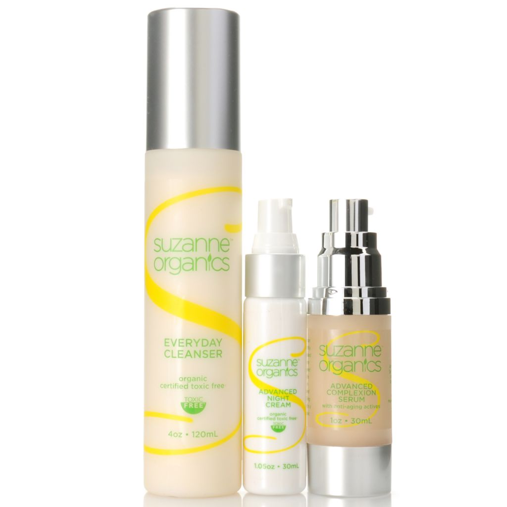 307-152 - Suzanne Somers Organics Everyday Cleanser, Complexion Serum & Night Cream Trio