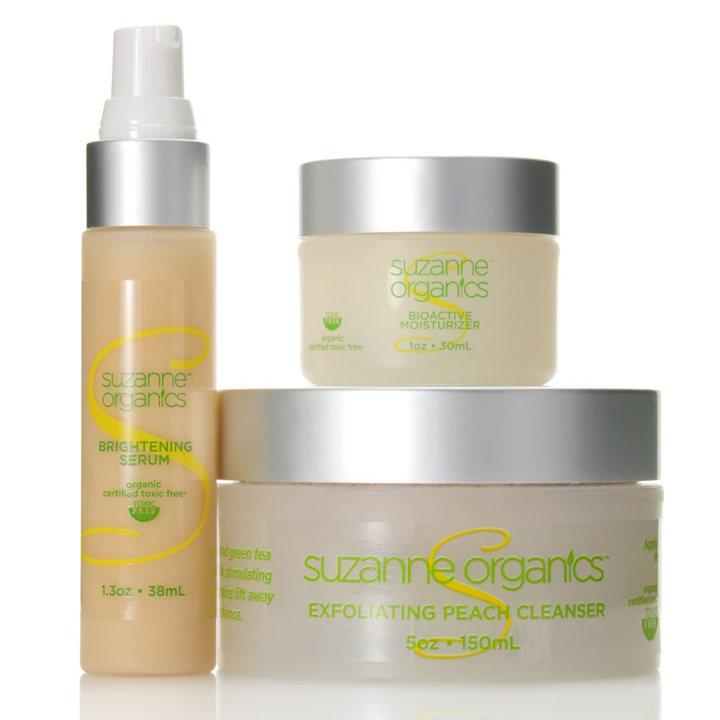307-153 - Suzanne Somers Organics Cleanser, Brightening Serum & Bioactive Moisturizer Trio