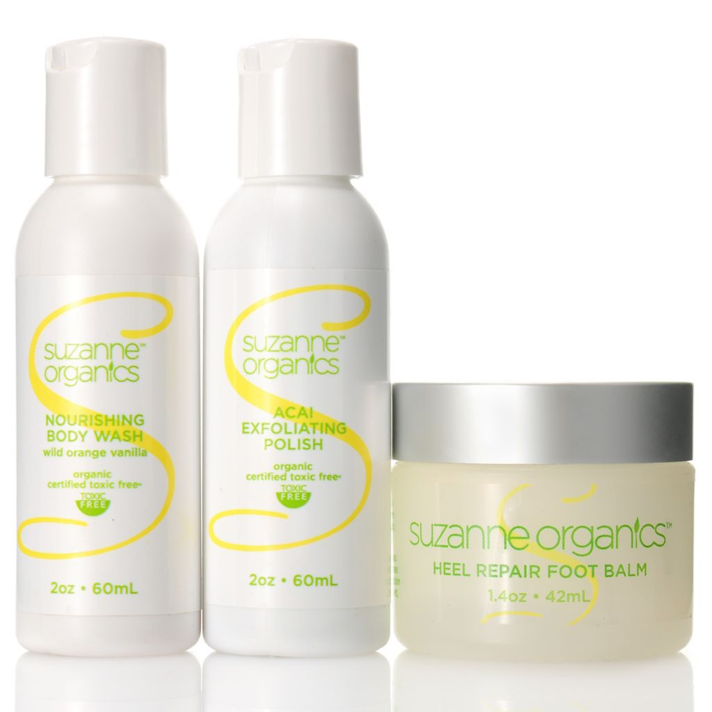 307-156 - Suzanne Somers Organics Body Wash, Exfoliating Polish & Foot Balm Trio