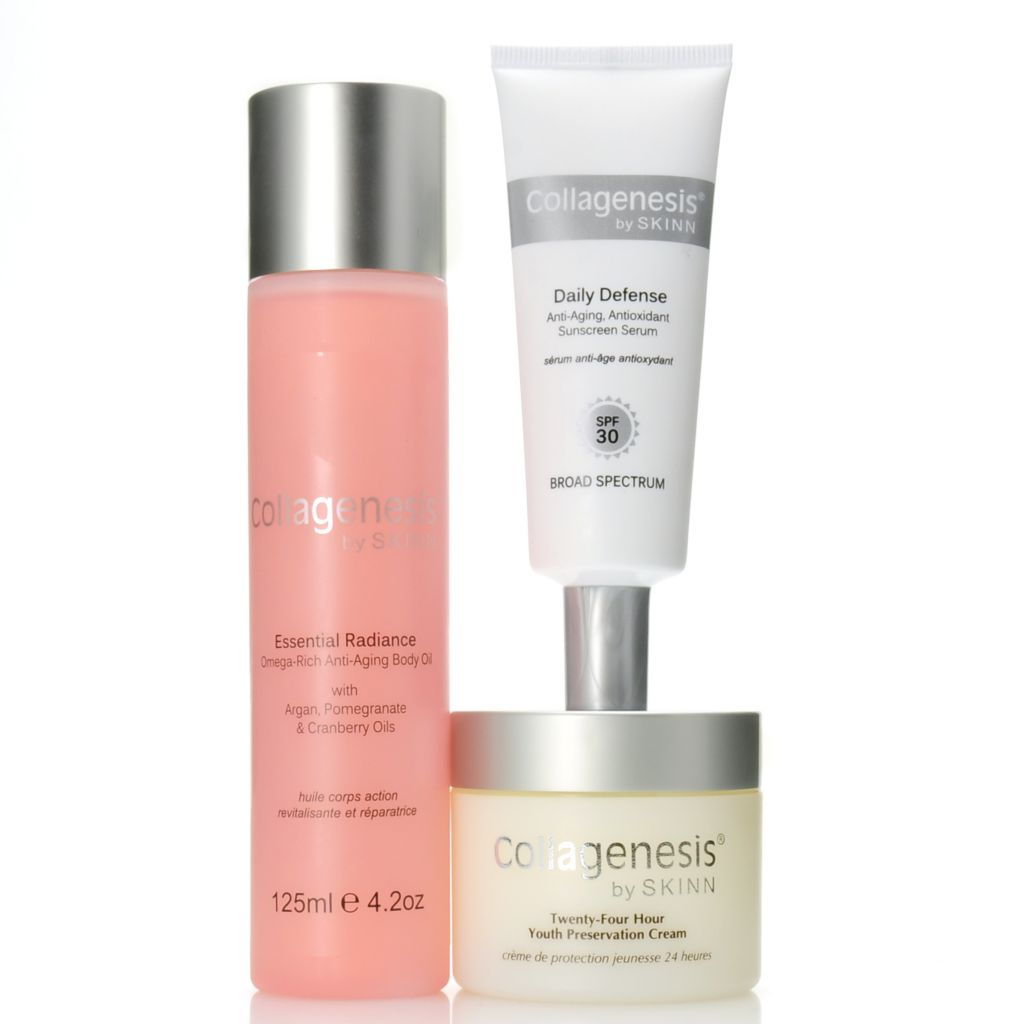307-199 - Skinn Cosmetics Collagenesis Sunscreen, Youth Preservation Cream & Body Oil Trio