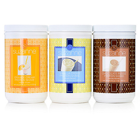 307-200 - Suzanne Somers Chocolate Fudge, Vanilla Cream & Orange Cream Protein Shake Trio